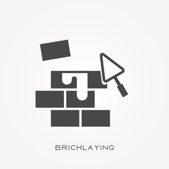 Silhouette icon bricklaying