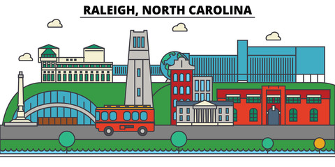 Raleigh, North Carolina. City skyline: architecture, buildings, streets, silhouette, landscape, panorama, landmarks. Editable strokes. Flat design line vector illustration concept. Isolated icons