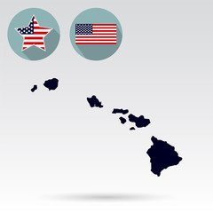 Map of the U.S. state of Hawaii on a white background. American flag, star