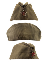 Isolated photo of a soviet military forage cap in front, profile and angle view.