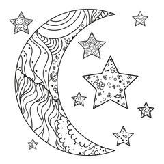Half moon and star with abstract patterns on isolation background. Design for spiritual relaxation for adults. Line art creation. Black and white illustration for anti stress colouring page