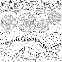 Abstract eastern pattern. Hand drawn texture with abstract patterns on isolation background. Design for spiritual relaxation for adults. Line art creation.