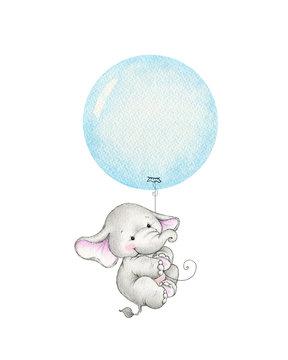 Cute elephant flying on a blue balloon
