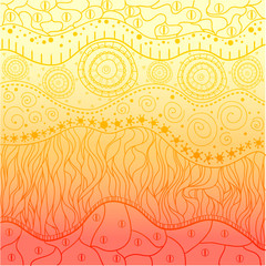 East colored background with bright colors. Abstract pattern. Print for polygraphy, t-shirts and textiles. Zentangle. Zen art