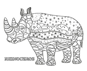 Rhinoceros. Zentangle. Hand drawn rhinoceros with abstract patterns on isolation background. Design for spiritual relaxation for adults. Print for textiles, fabrics, polygraphy, posters, textiles
