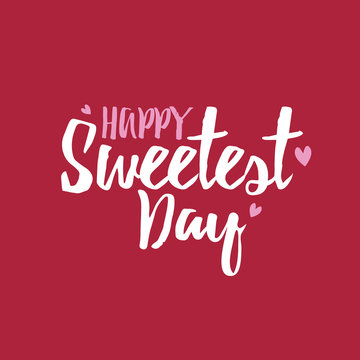 Happy Sweetest Day Vector Typography with Hearts Over Red Background