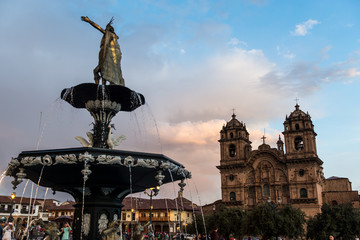 The main square of Cusco (Plaza de Armas) in Cusco, Peru