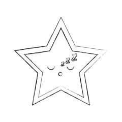 kawaii christmas star ornament celebration decoration vector illustration