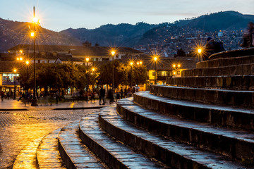 Stone staircase leading to the main square in Cusco, Peru (Plaza de Armas)