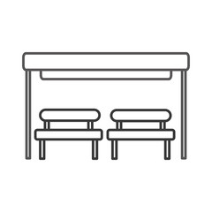 the bus stop with bench chair waiting vector illustration