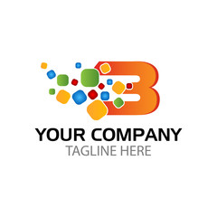 letter b logo with Pixel Multiply Colorful
