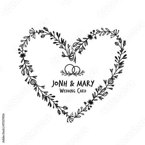 Floral heart frame, sketch for your design\