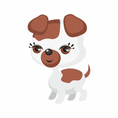 The image of cute dog in cartoon style. Vector children's illustration.
