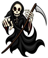 Vector illustration of a cartoon grim reaper.