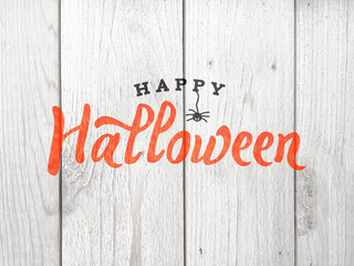 Happy Halloween Typography Over Distressed Wood Background