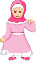 posing muslim girl standing alone cartoon