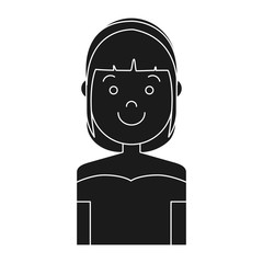 cartoon woman smiling icon over white background vector illustration