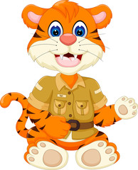 cute baby tiger cartoon waving hand with smiling