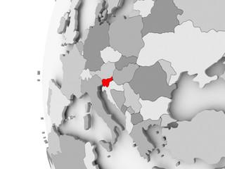 Slovenia on grey globe