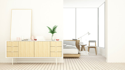 Wall Mural - Bedroom space interior minimal and wall decoration empty in apartment- 3D rendering