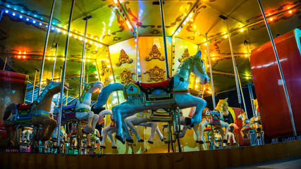 An empty Carousel left after played by children in night because its about to close
