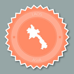 Lao People's Democratic Republic badge flat design. Round flat style sticker of trendy colors with country map and name. Country badge vector illustration.