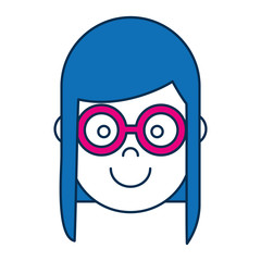 woman with glasses icon over white background colorful design vector illustration