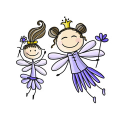 Cute fairies, sketch for your design