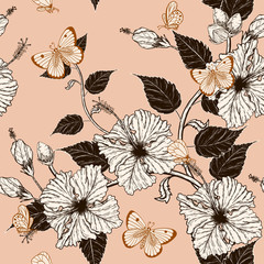 Butterfly and Hibiscus flower pattern by hand drawing.Tattoo art highly detailed in line art style.Fish and flower seamless pattern on batik cloth.