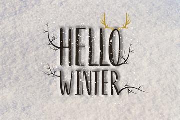 Hello Winter On Snow Background