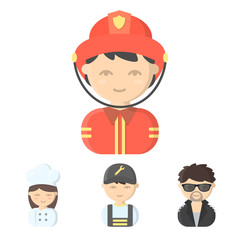 Mechanic, entertainer, cook, fireman.Profession set collection icons in cartoon style vector symbol stock illustration web.