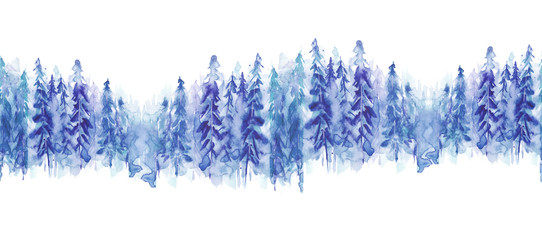 Seamless watercolor linear pattern, border. Blue spruce, pine, cedar, larch, abstract forest, silhouette of trees. On white isolated background.