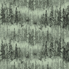 Seamless watercolor pattern, background. dark, gray silhouette of trees, spruce, pine, cedar. Abstract scenic forest landscape.