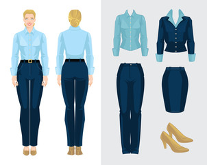 Vector illustration of corporate dress code. Business woman or secretary in formal clothes. Front view and back view. Blue blouse, pants, skirt and beige shoes isolated on white background.