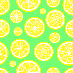 Seamless pattern with slice lemon on green background