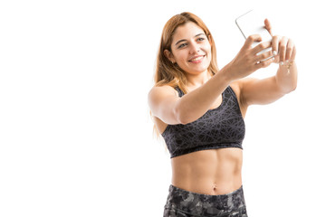 Strong woman taking a selfie