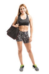 Athletic woman with a gym bag
