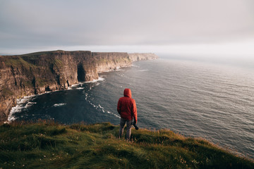 Overlooking Cliffs of Moher in Ireland.