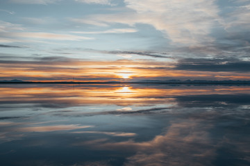 Mirrored sunset over Bonneville Salt Flats, Utah.