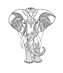 Zentangle animal. Stylized fantasy patterned elephant. Hand drawn vector illustration isolated on white background.