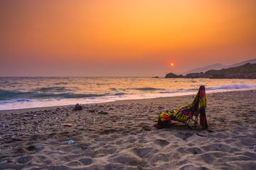 Summer view of a beach at sunset, Ligres, Crete, Greece