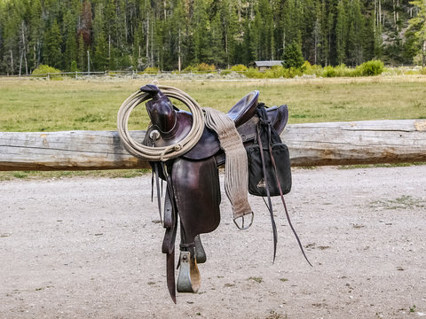 Western Saddle and Gear for a Cowboy