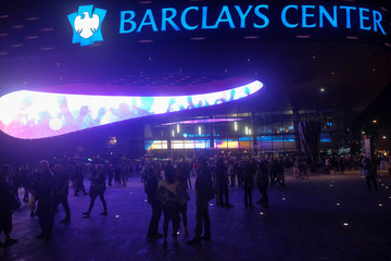 People leave the Barclays Center after a rock concert by British musician, composer and former frontman of Pink Floyd, Roger Waters, in the Brooklyn borough of New York City