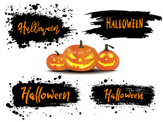 Happy Halloween vector lettering on black splash background. Holiday calligraphy  for banner, poster, greeting card