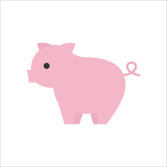 pig icon side view, flat design vector