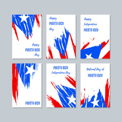 Puerto Rico Patriotic Cards for National Day. Expressive Brush Stroke in National Flag Colors on white card background. Puerto Rico Patriotic Vector Greeting Card.