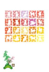 戌年の犬のピンクのイラスト年賀状テンプレート縦型
