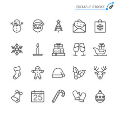 Christmas line icons. Editable stroke. Pixel perfect.