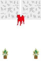 戌年の犬のイラスト年賀状テンプレート縦型