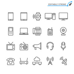 Communication device line icons. Editable stroke. Pixel perfect.
